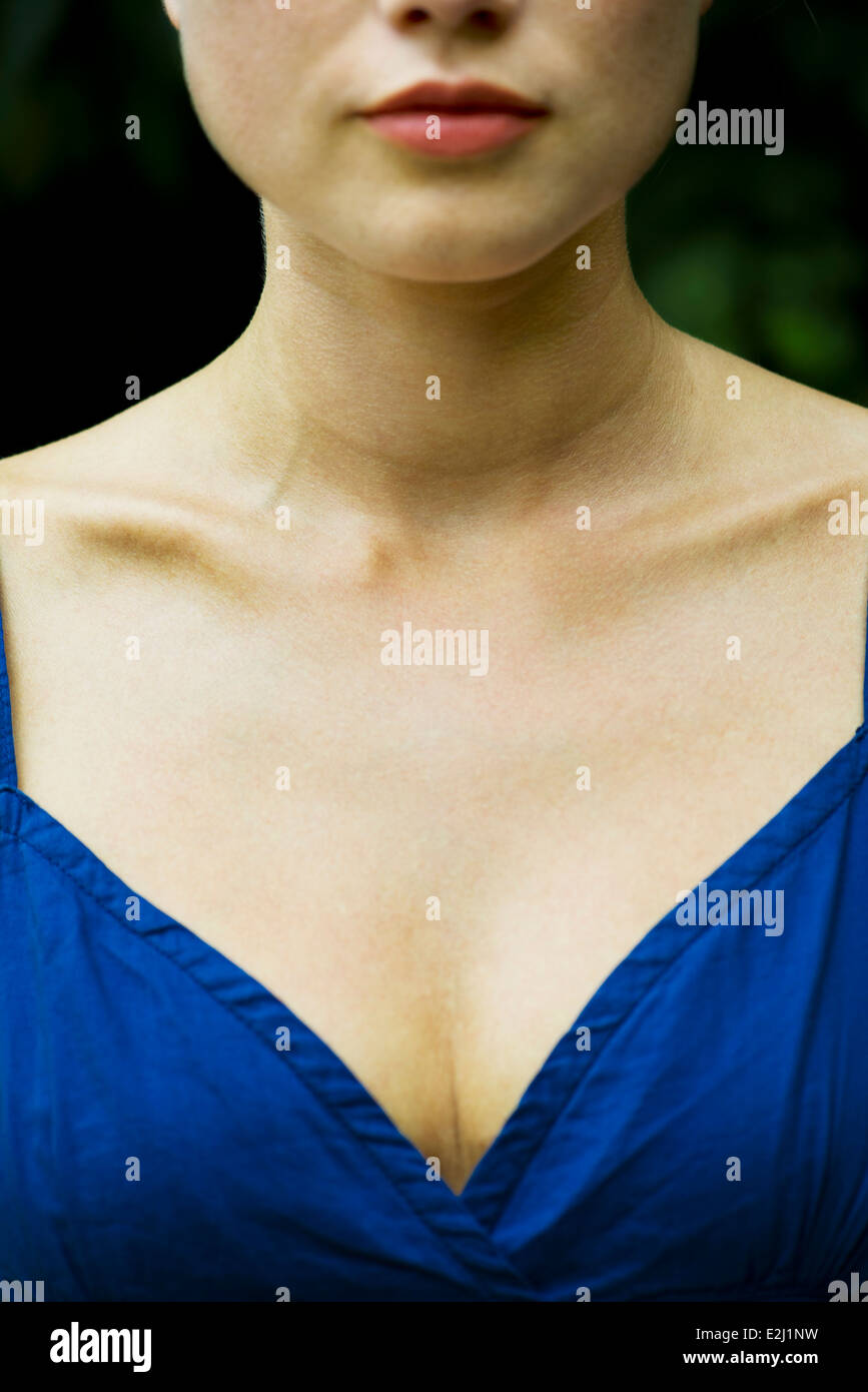 Close-up of young woman's chest - Stock Image