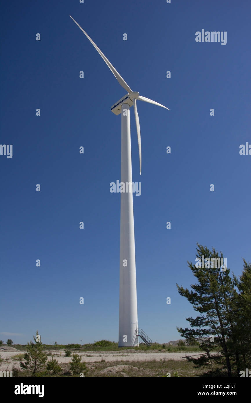 A wind turbine on the island of Gotland, Sweden - Stock Image