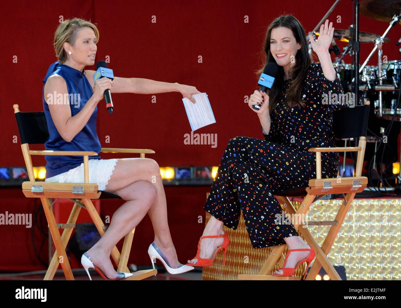 New York, NY, USA. 20th June, 2014. Amy Robach, Liv Tyler on stage for Good Morning America's (GMA) Fun in the Sun Stock Photo