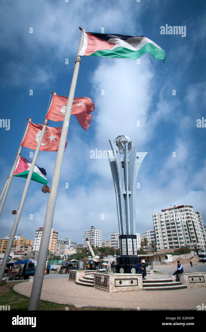 Freedom Flotilla Martyrs Memorial and Square in Gaza, Palestinian Territories. - Stock Image