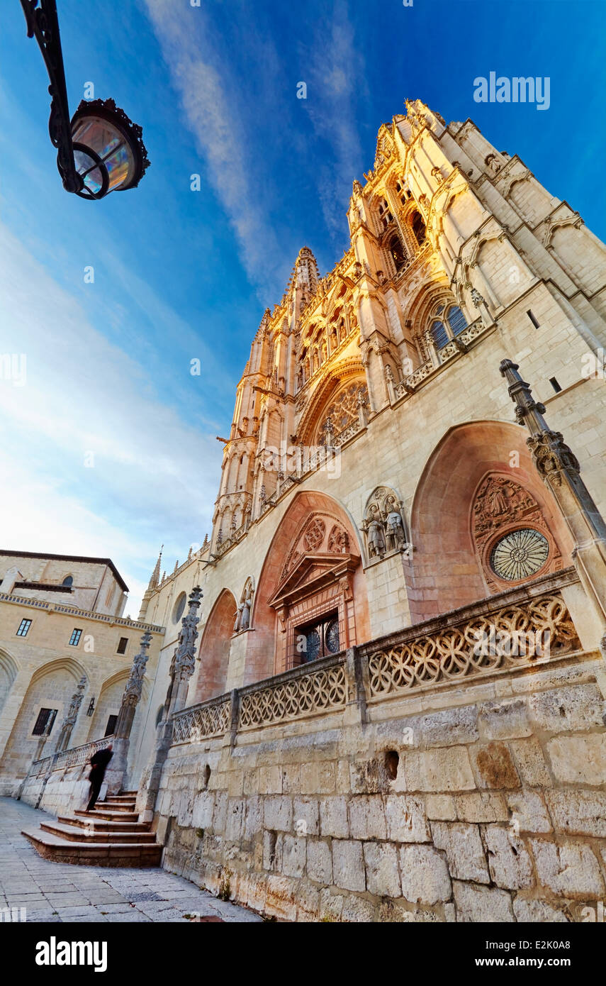 Cathedral of Saint Mary of Burgos, Saint Mary facade. Castile and Leon. Spain - Stock Image
