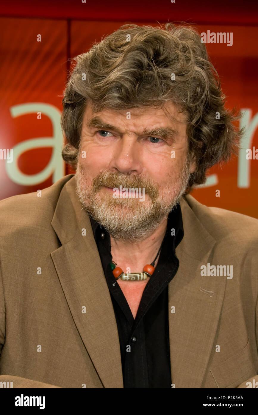 Reinhold Messner on German ARD TV show Hart aber fair at WDR Studios.  Where: Cologne, Germany When: 29 Apr 2013.co - Stock Image