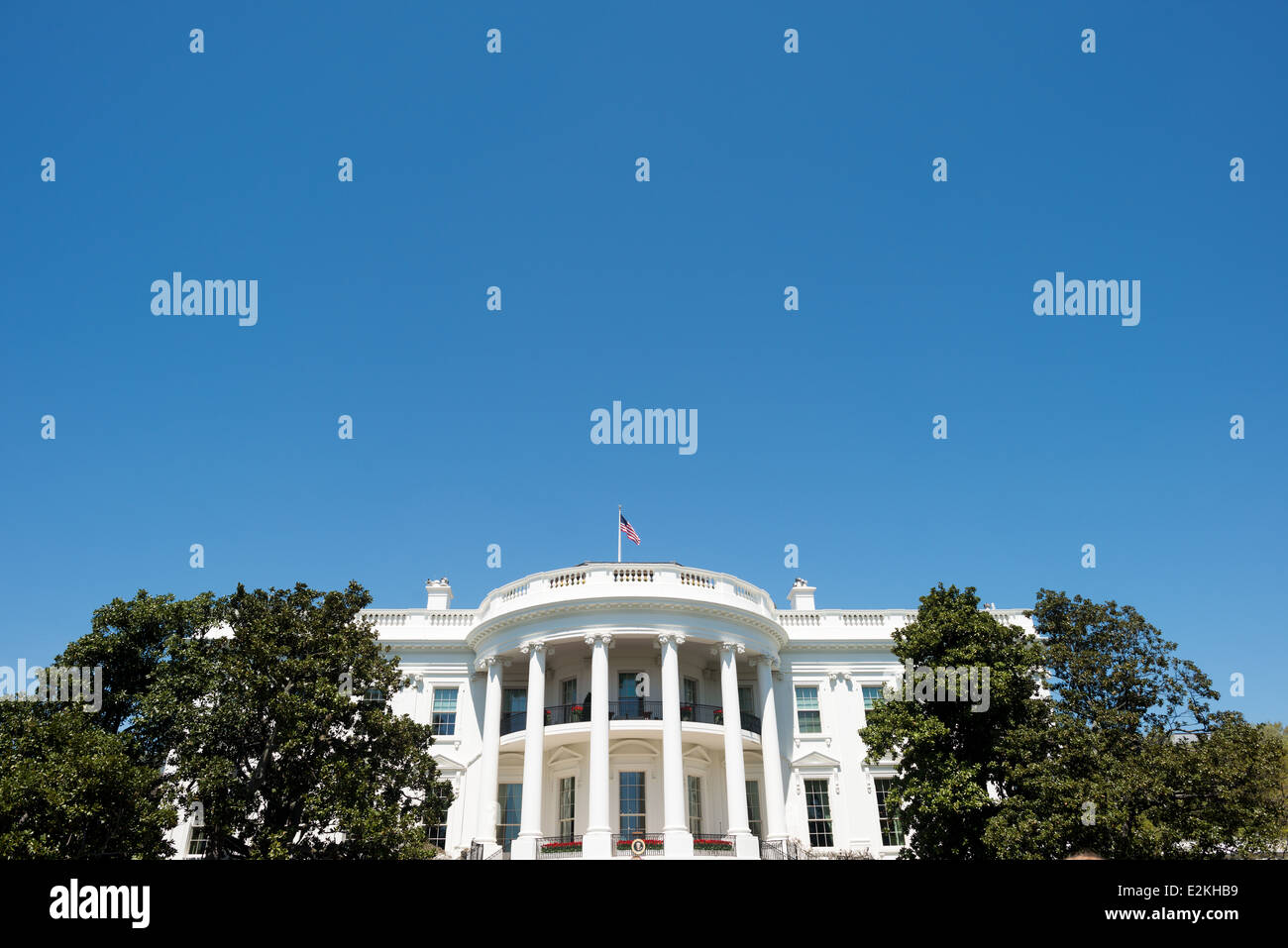WASHINGTON DC, USA - Close shot of the South Portico of the White House in Washington DC. This side of the building - Stock Image