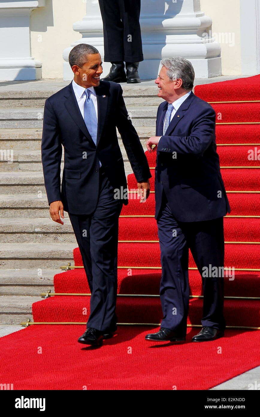 US President Barack Obama and German President Joachim Gauck at Schloss Bellevue Berlin. It is President Obama's - Stock Image