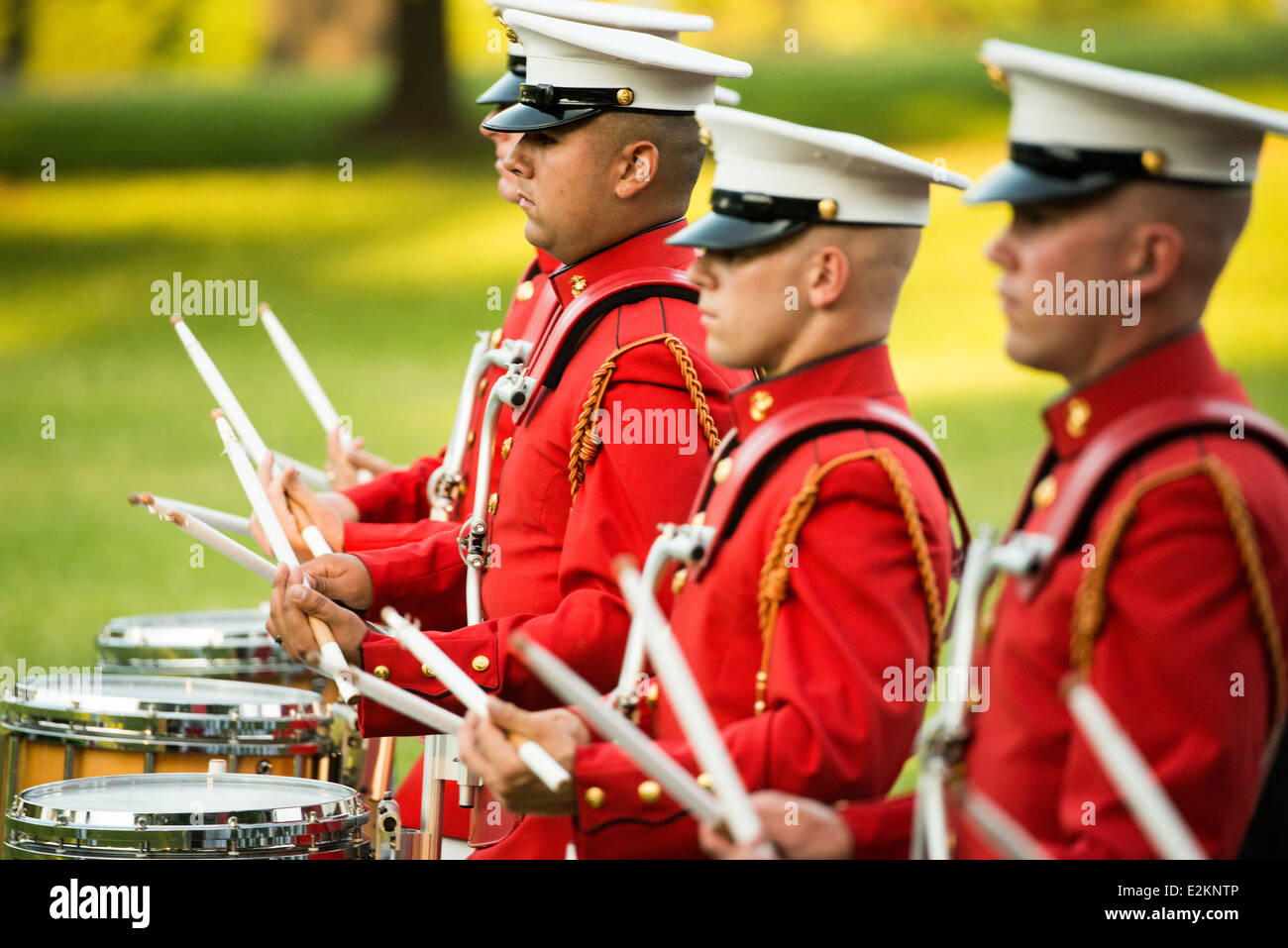 The United States Marine Drum and Bugle Corps, known as the Commandant's Own, performs at the Sunset Parade at the Stock Photo