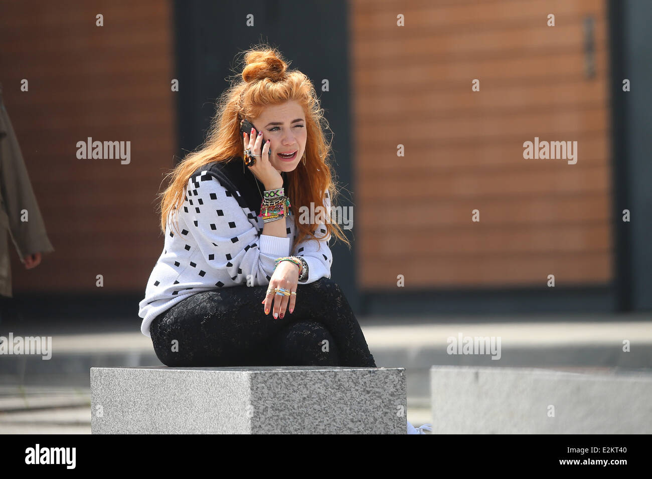 Palina Rojinski filmimg a new video on Potsdamer Platz square.  Where: Berlin, Germany When: 01 Jul 2013 - Stock Image