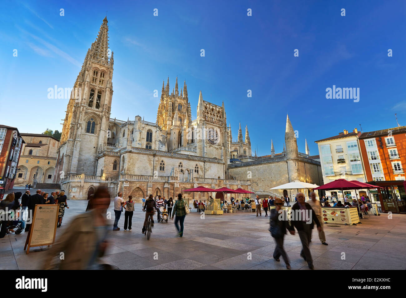 Cathedral of Saint Mary of Burgos. San Fernando square. Castile and Leon. Spain - Stock Image