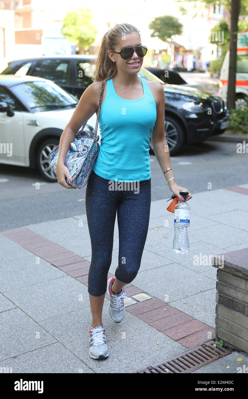 Sylvie van der Vaart going to a members only gym in Eppendorf.  Where: Hamburg, Germany When: 18 Jul 2013 - Stock Image