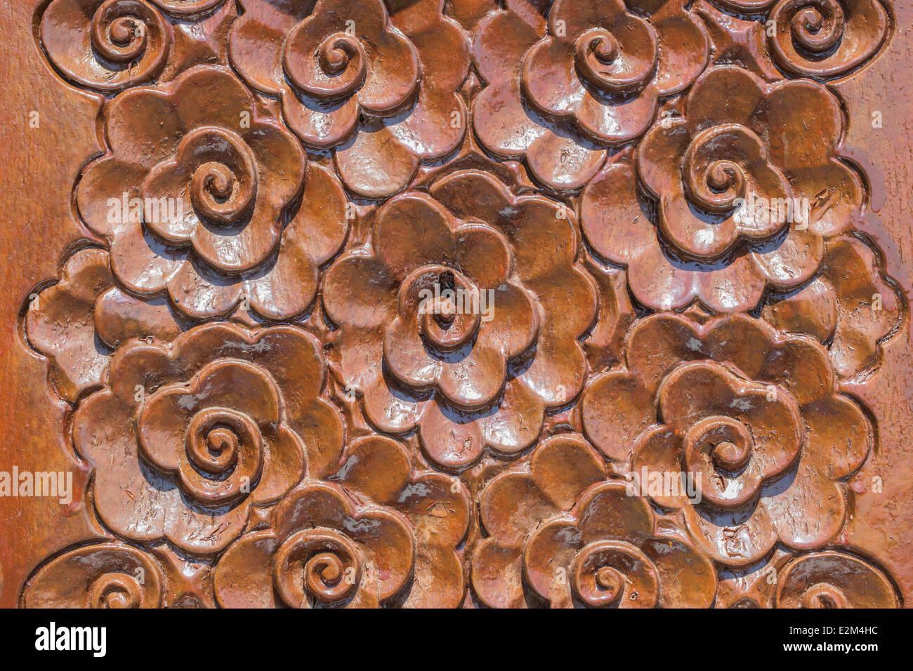 Wood thai flower pattern handmade wood carvings chiangmai