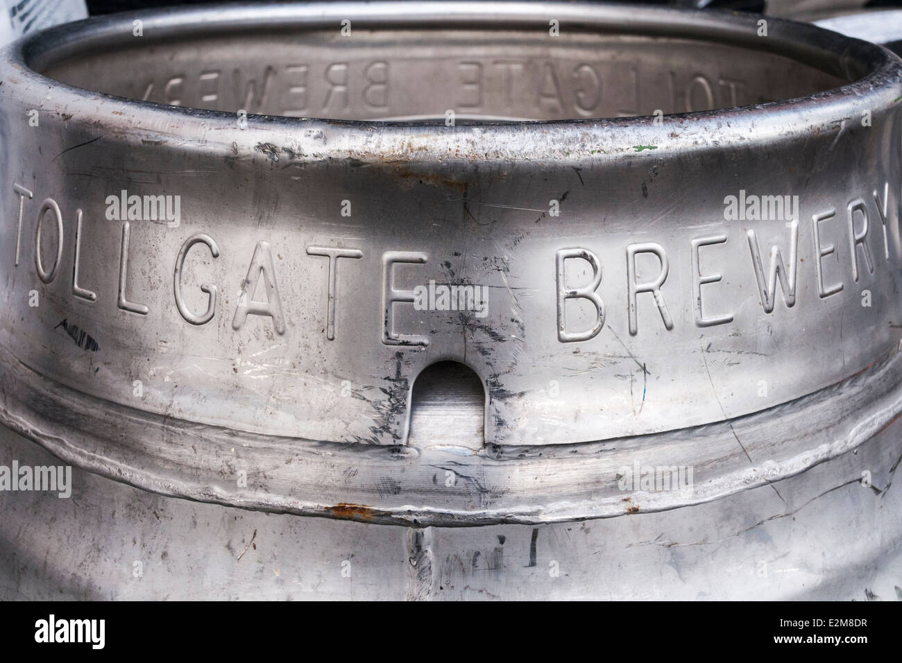 Closeup of the wording on a Tollgate Brewery beer keg - Stock Image