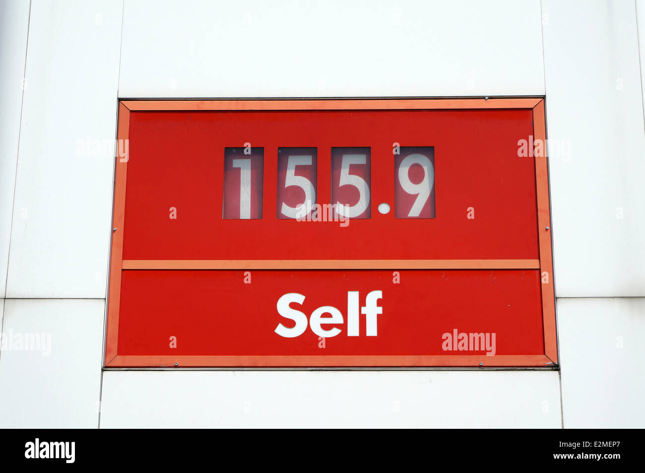 Gasoline pump at a Petro-Canada filling station showing gas price per litre, Vancouver, British Columbia, Canada - Stock Image
