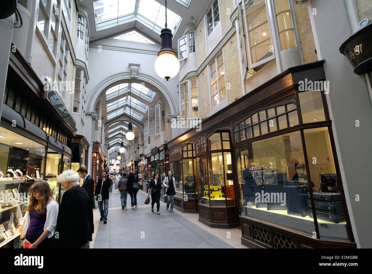 Burlington arcade, a covered walkway of shops between Burlington Gardens and Piccadilly, London. - Stock Image
