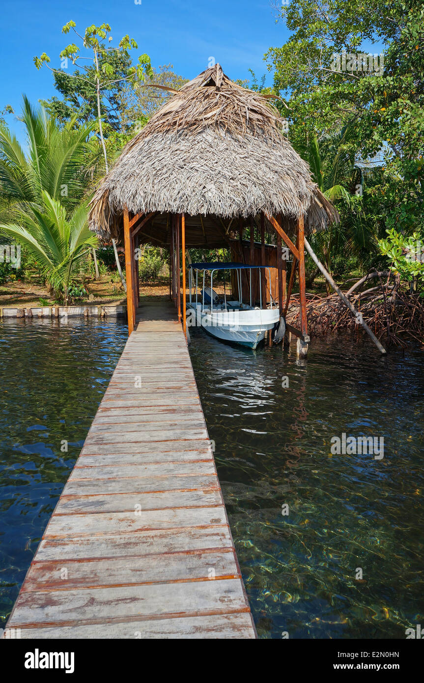 A boathouse with thatched palm roof and its dock - Stock Image