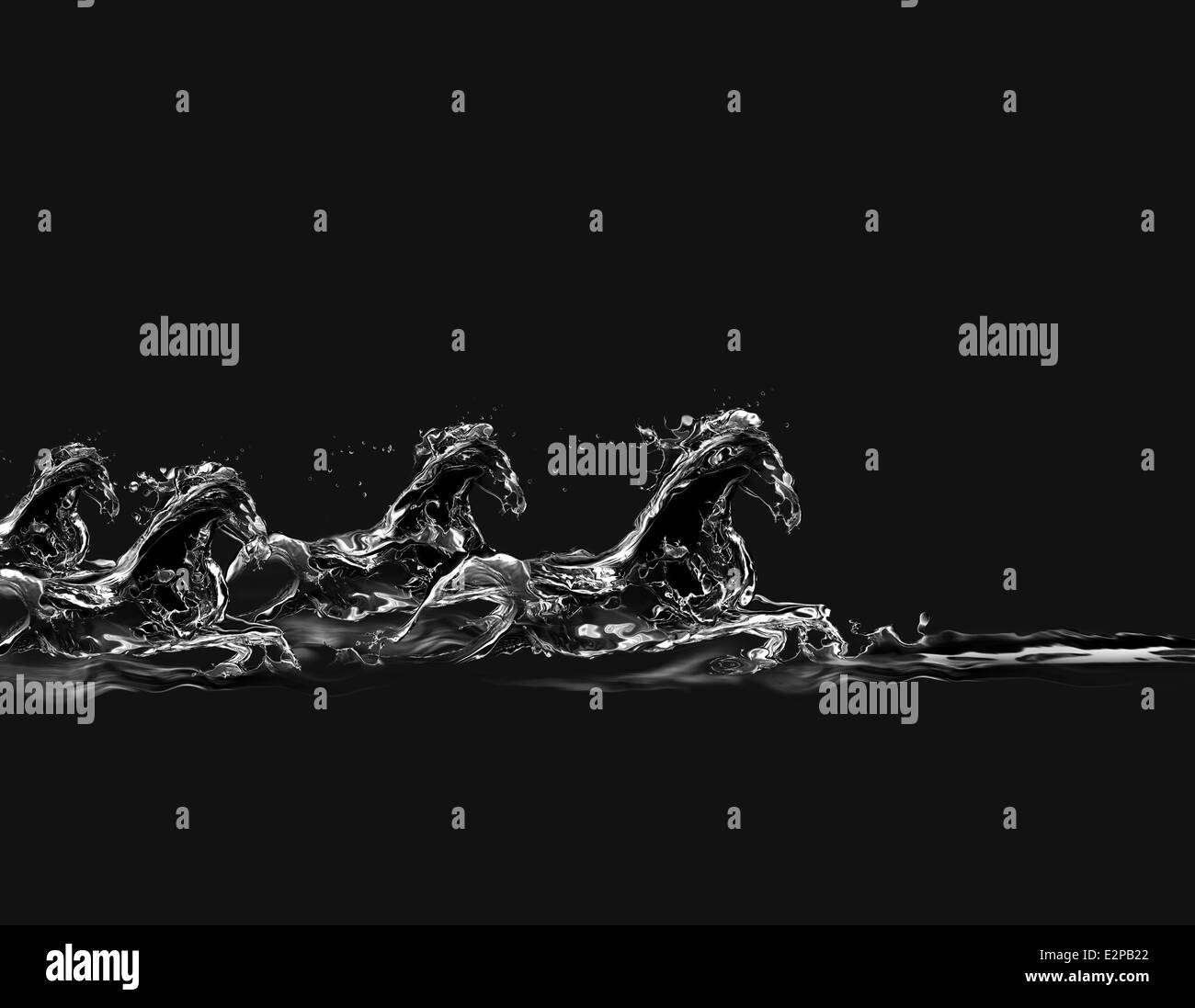 A group of horses made of water galloping in water on a black background. - Stock Image