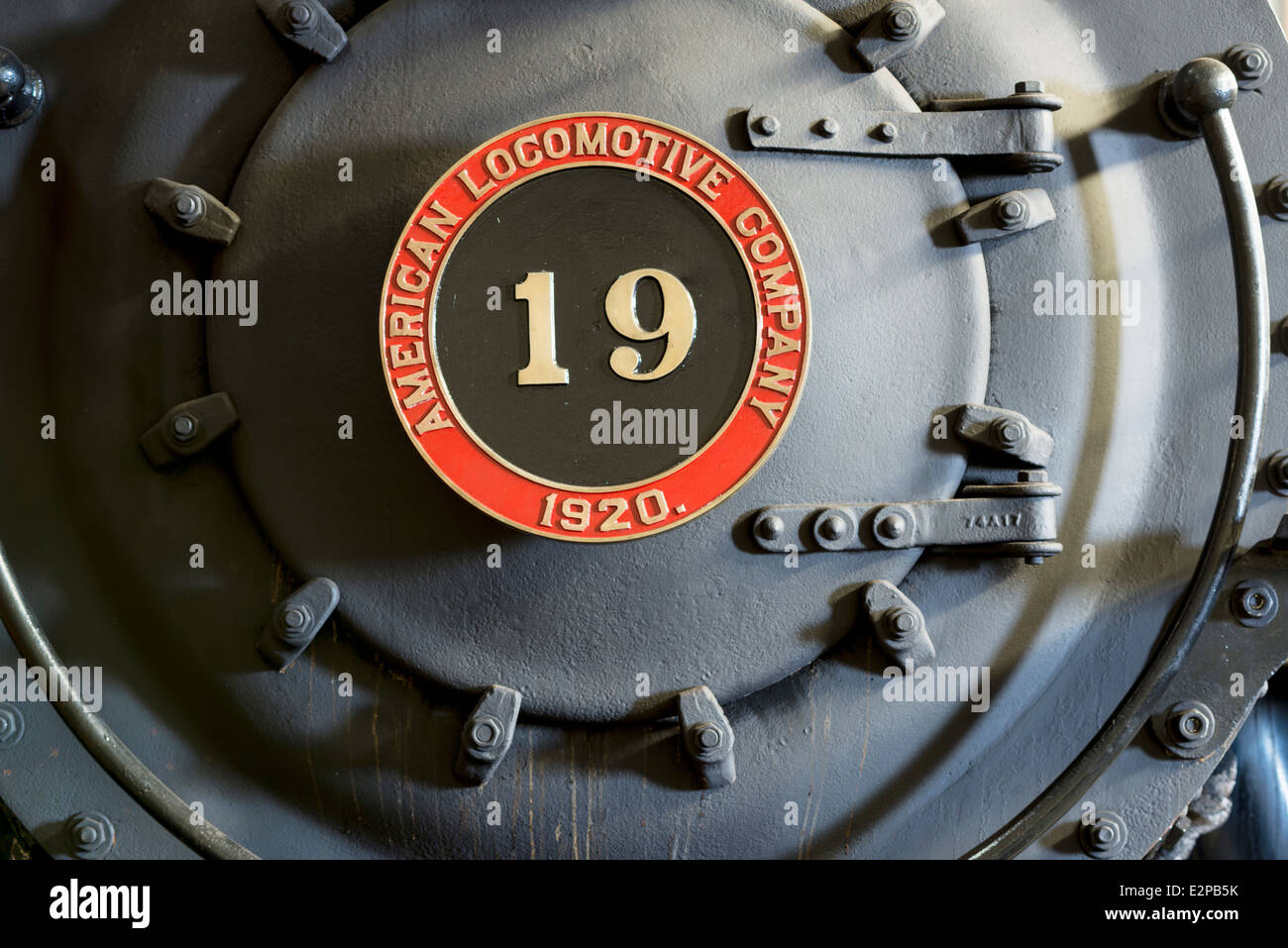 Front of the Sumpter Valley Railway Mikado Number 19 steam locomotive engine, Oregon. - Stock Image