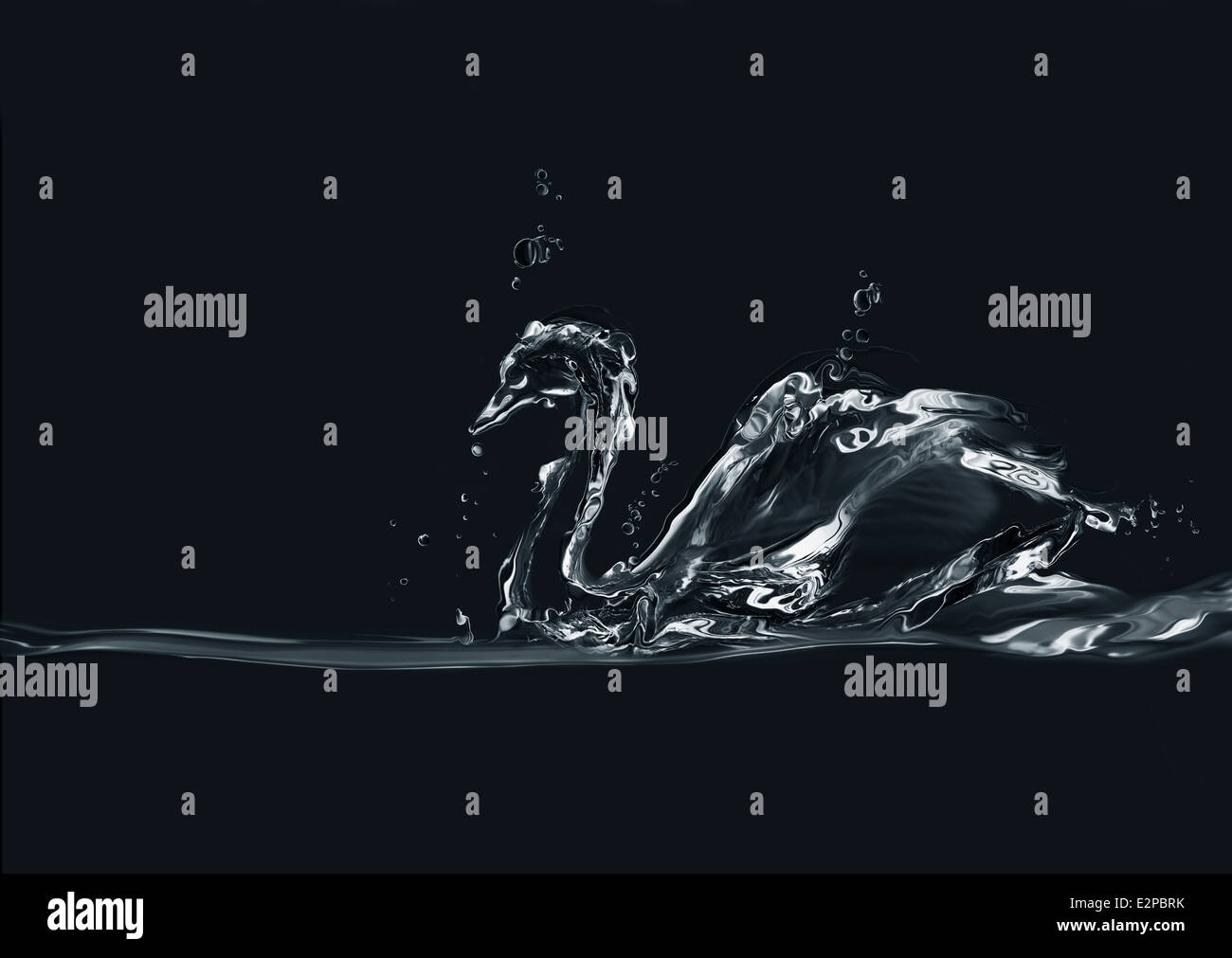 A silhouette of a swan made of water on black background. - Stock Image