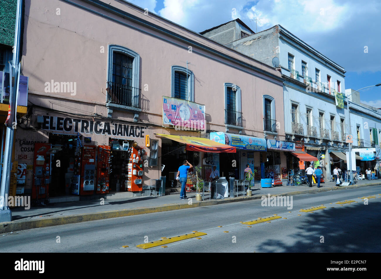 Businesses on Ayuntamiento Street in Mexico City, Mexico - Stock Image