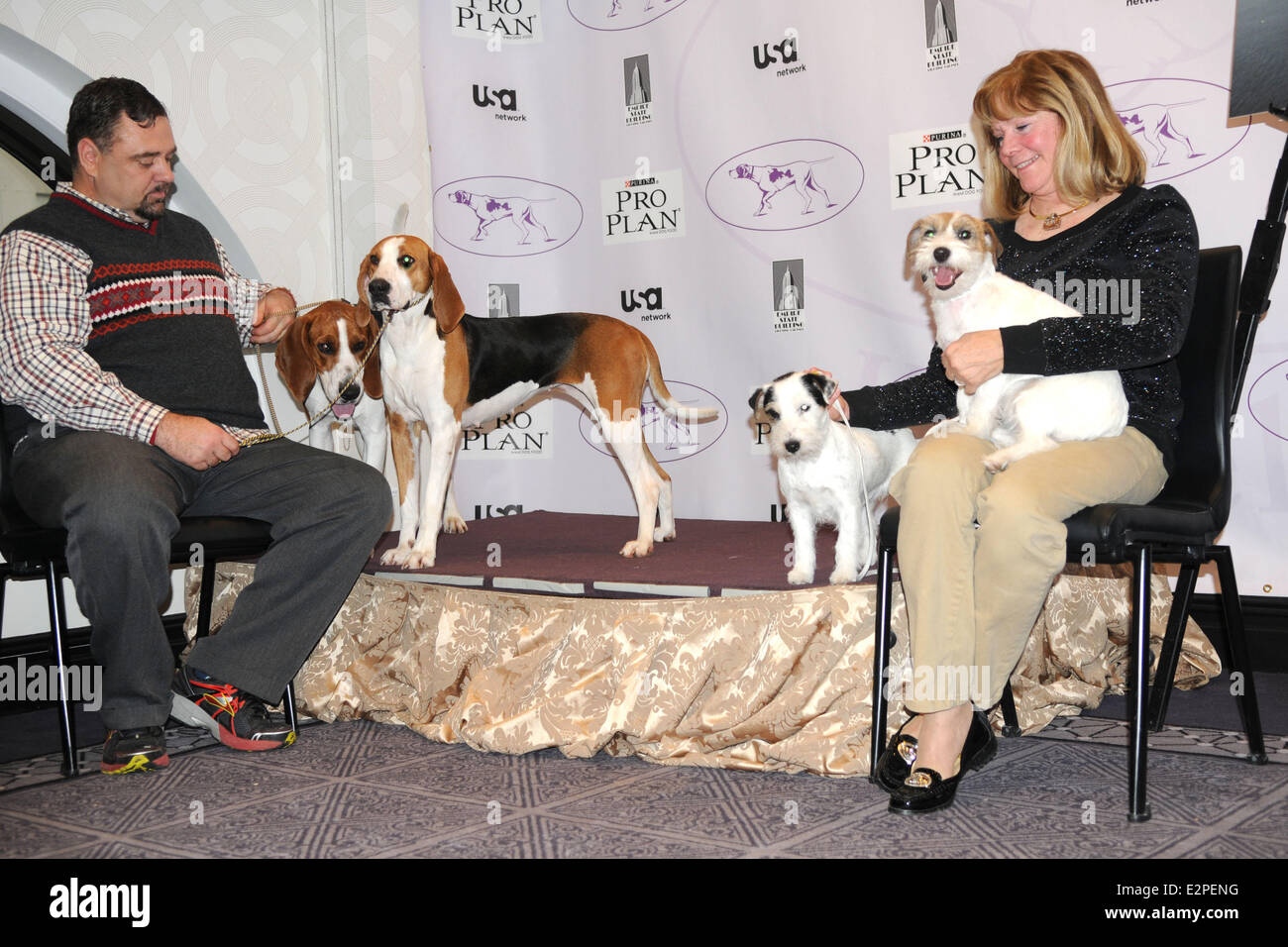 The Westminster Kennel Club 137th Annual Dog Show - Press Conference at Affinia  Featuring: Meg,Tank both Treewalking Stock Photo