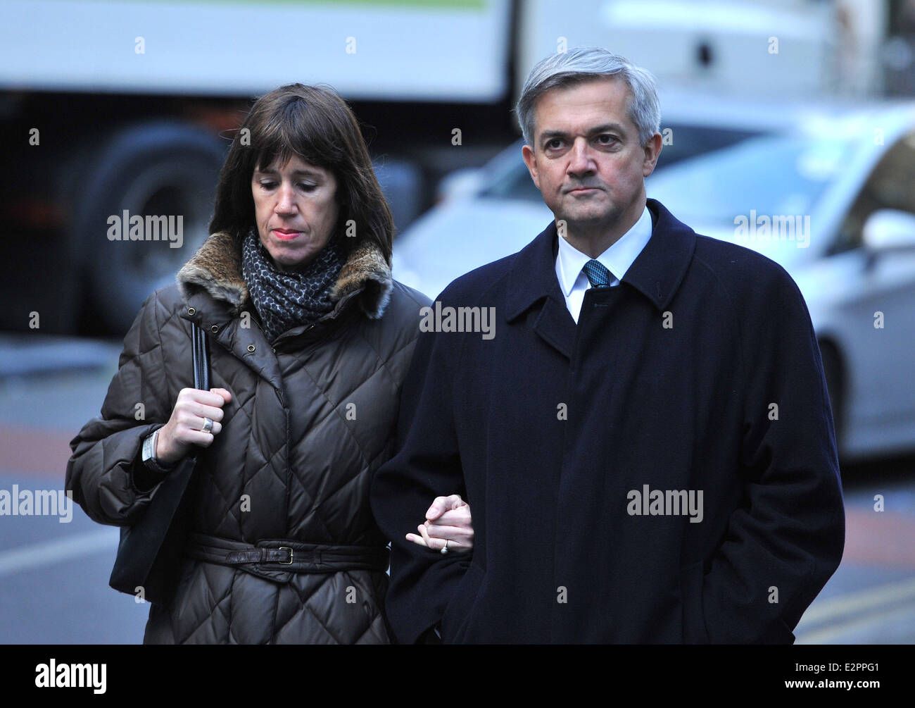 Chris Huhne arrives at Southwark Crown Court for a hearing  charged with perverting the course of justice  Featuring: - Stock Image