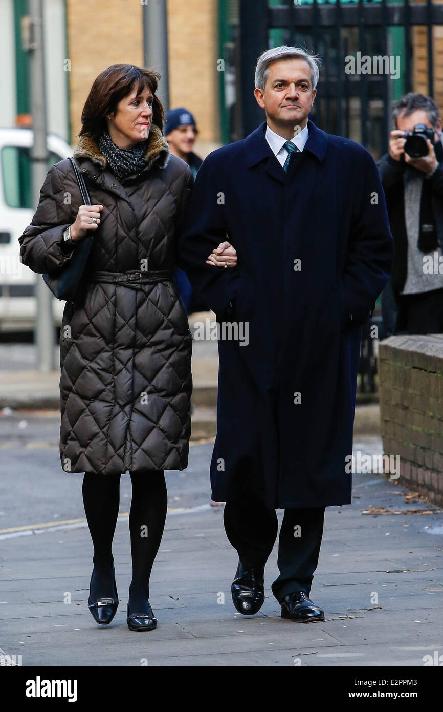 Chris Huhne arrives at Southwark Crown Court for a hearing as he faces charges of perverting the course of justice - Stock Image