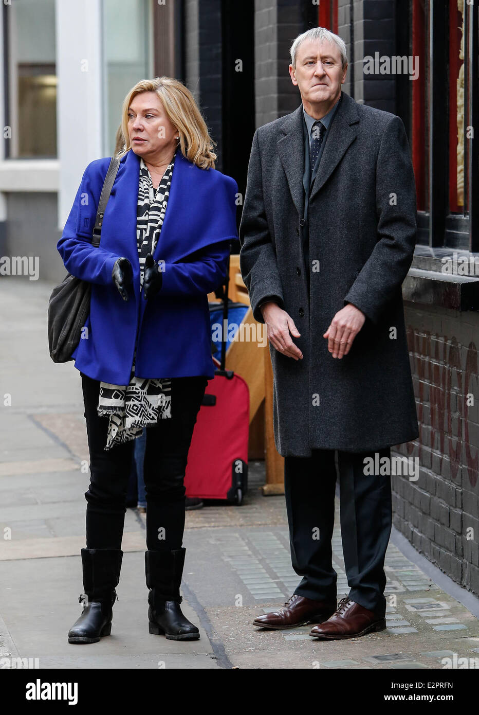 Nicholas Lyndhurst And Amanda Redman Filming For Bbc Series New Stock Photo Alamy
