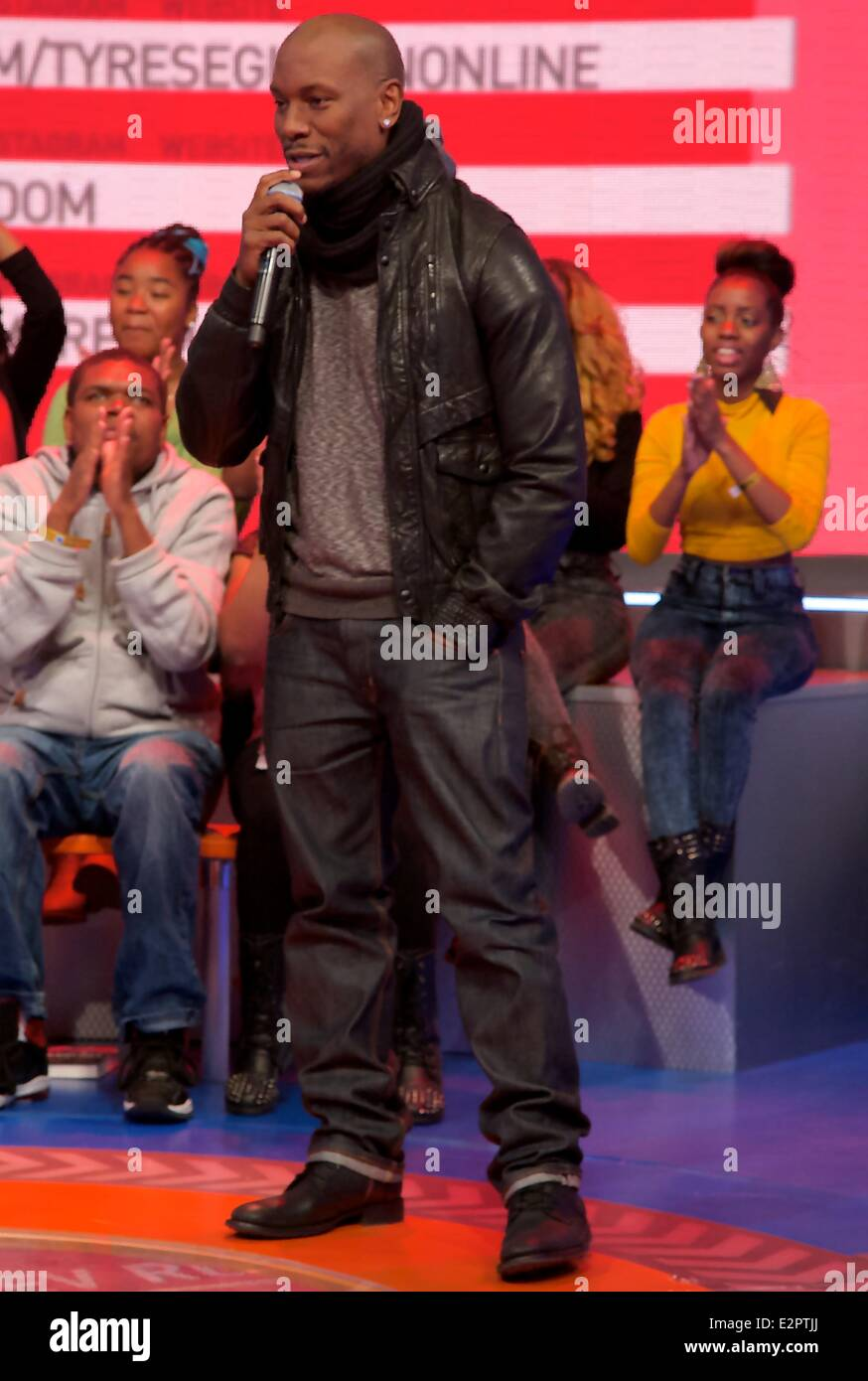 Tyrese Gibson and Rev Run Simmons of Run DMC visit the 106 & Park CBS BET Studios.  When: 04 Feb 2013 - Stock Image