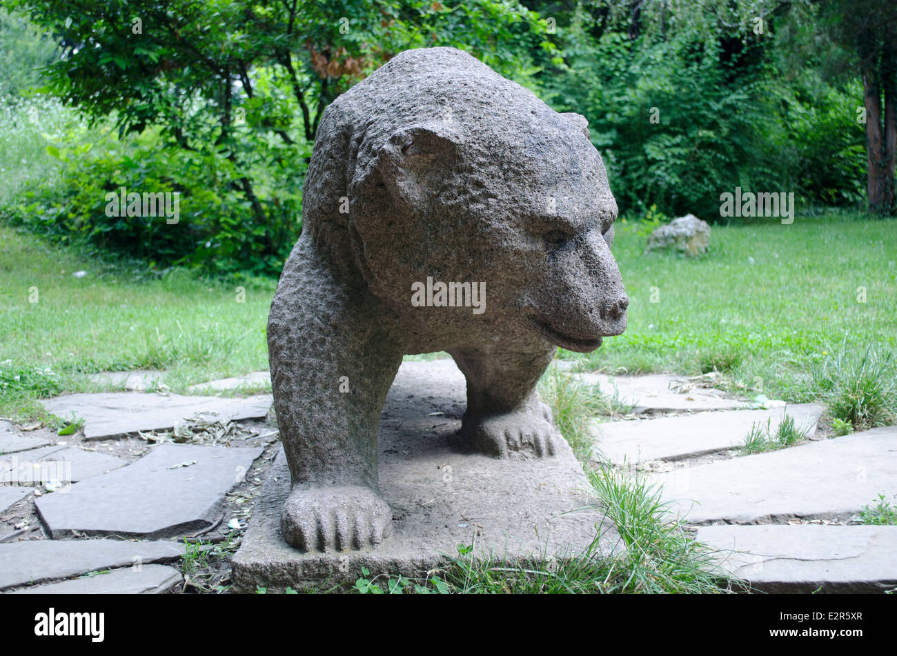 Granite sculpture in the form of a bear in Rousse Bulgaria - Stock Image