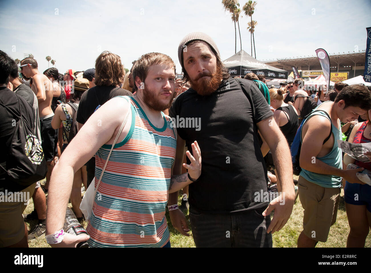 Pomona, CA, USA. 20th June, 2014. The Devil Wears Prada fans at the Vans Warped Tour. Thousands of young alternative - Stock Image