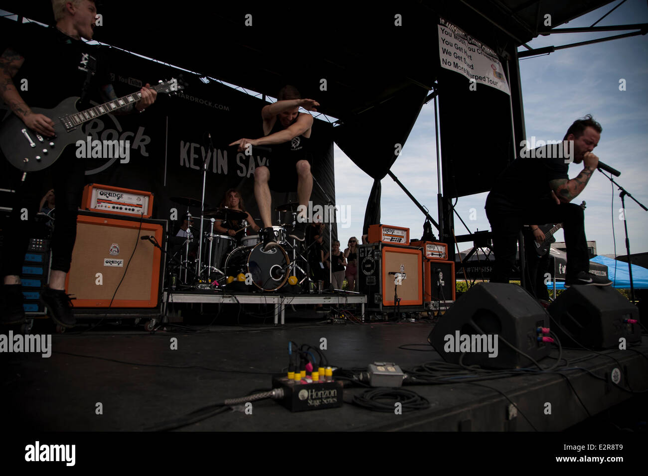 Pomona, CA, USA. 20th June, 2014. Dangerkids perform at the Vans Warped Tour. Thousands of young alternative music Stock Photo