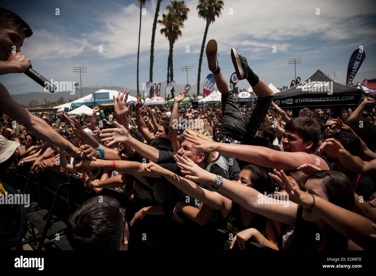 Pomona, CA, USA. 20th June, 2014. Fans flip for Dangerkids at the Vans Warped Tour. Thousands of young alternative - Stock Image