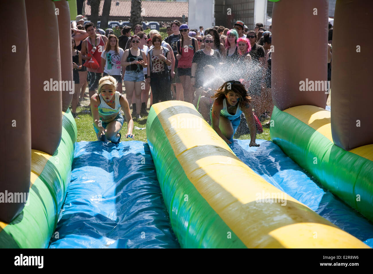 Pomona, CA, USA. 20th June, 2014. The slip and slide at the Vans Warped Tour. Thousands of young alternative music - Stock Image