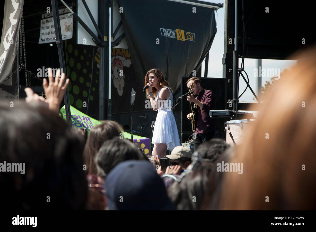 Pomona, CA, USA. 20th June, 2014. Echosmith performs at the Vans Warped Tour. Thousands of young alternative music - Stock Image