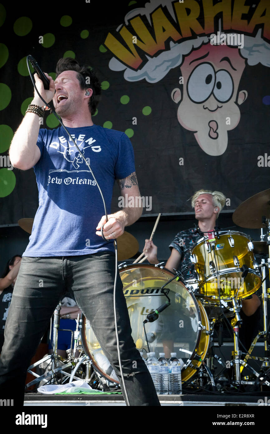 Pomona, CA, USA. 20th June, 2014. Anberlin performs at the Vans Warped Tour. Thousands of young alternative music - Stock Image