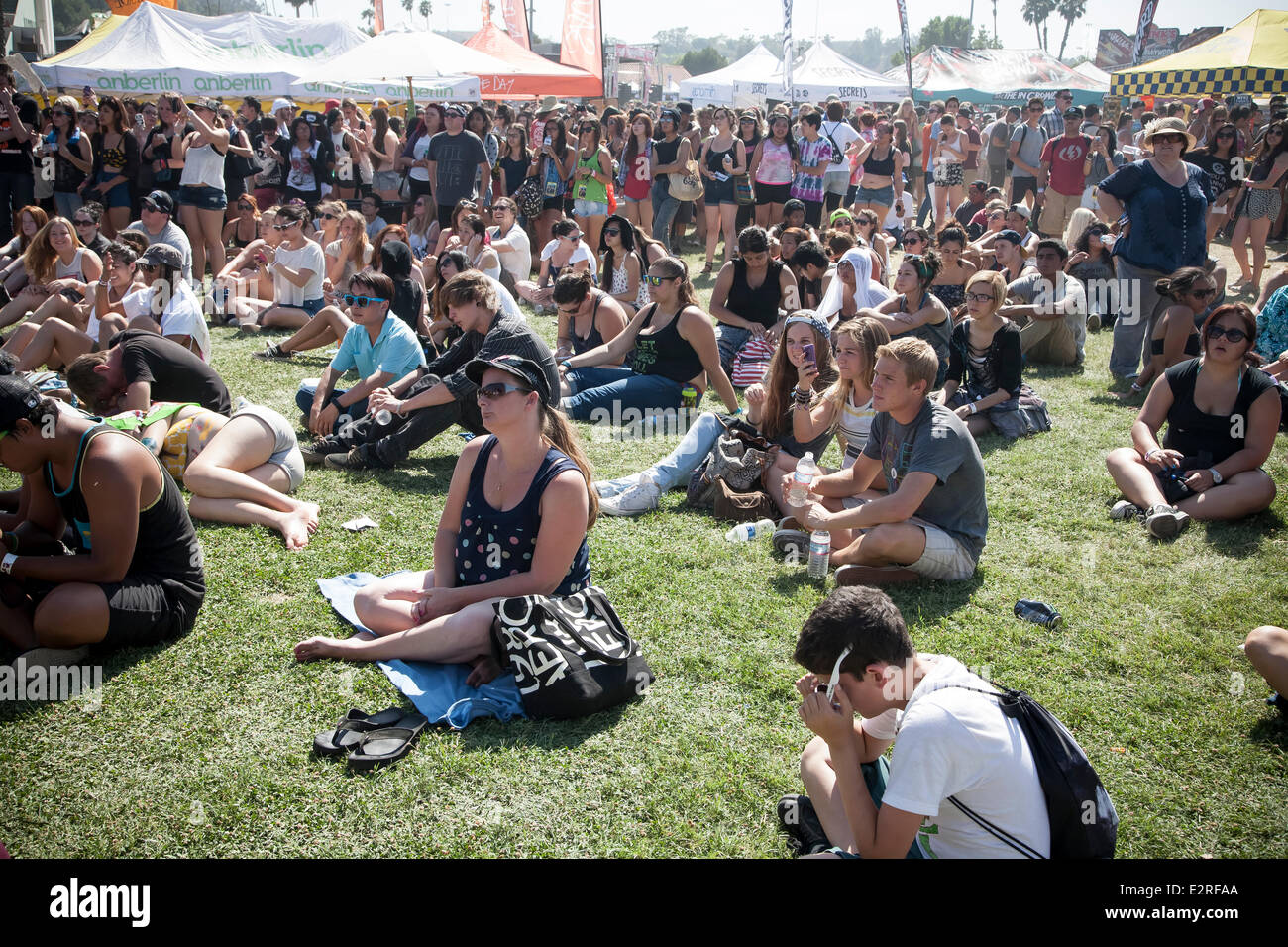 Pomona, CA, USA. 20th June, 2014. Fans at the Vans Warped Tour. Thousands of young alternative music fans turned Stock Photo