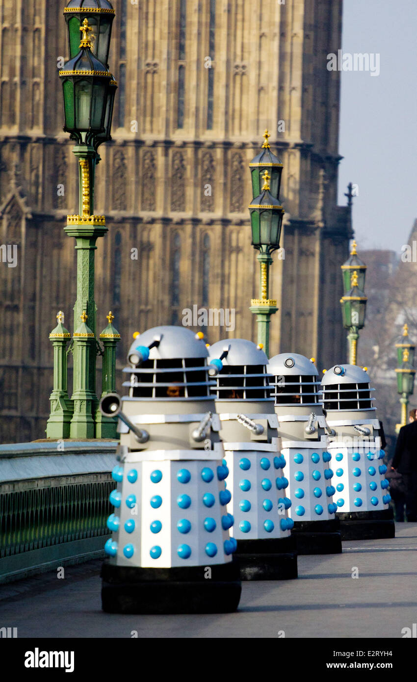 Londoners were in for a surprise on Sunday (17Feb13) morning when Doctor Who daleks invaded Westminster Bridge. - Stock Image