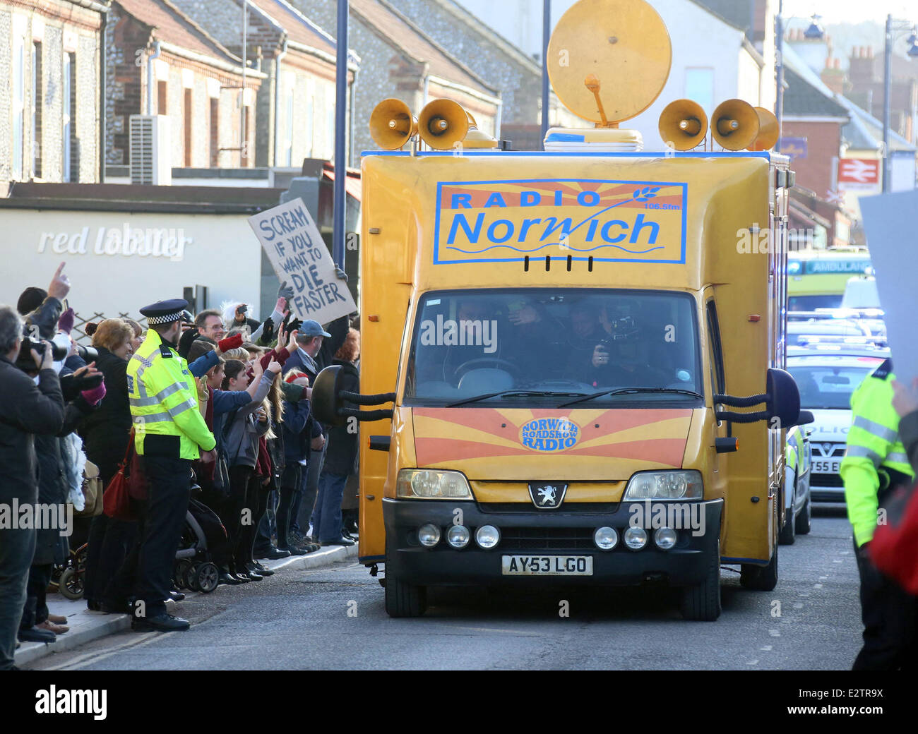 'Alan Partridge: The Movie' filming in Sheringham  Featuring: Atmosphere Where: Norfolk, United Kingdom - Stock Image