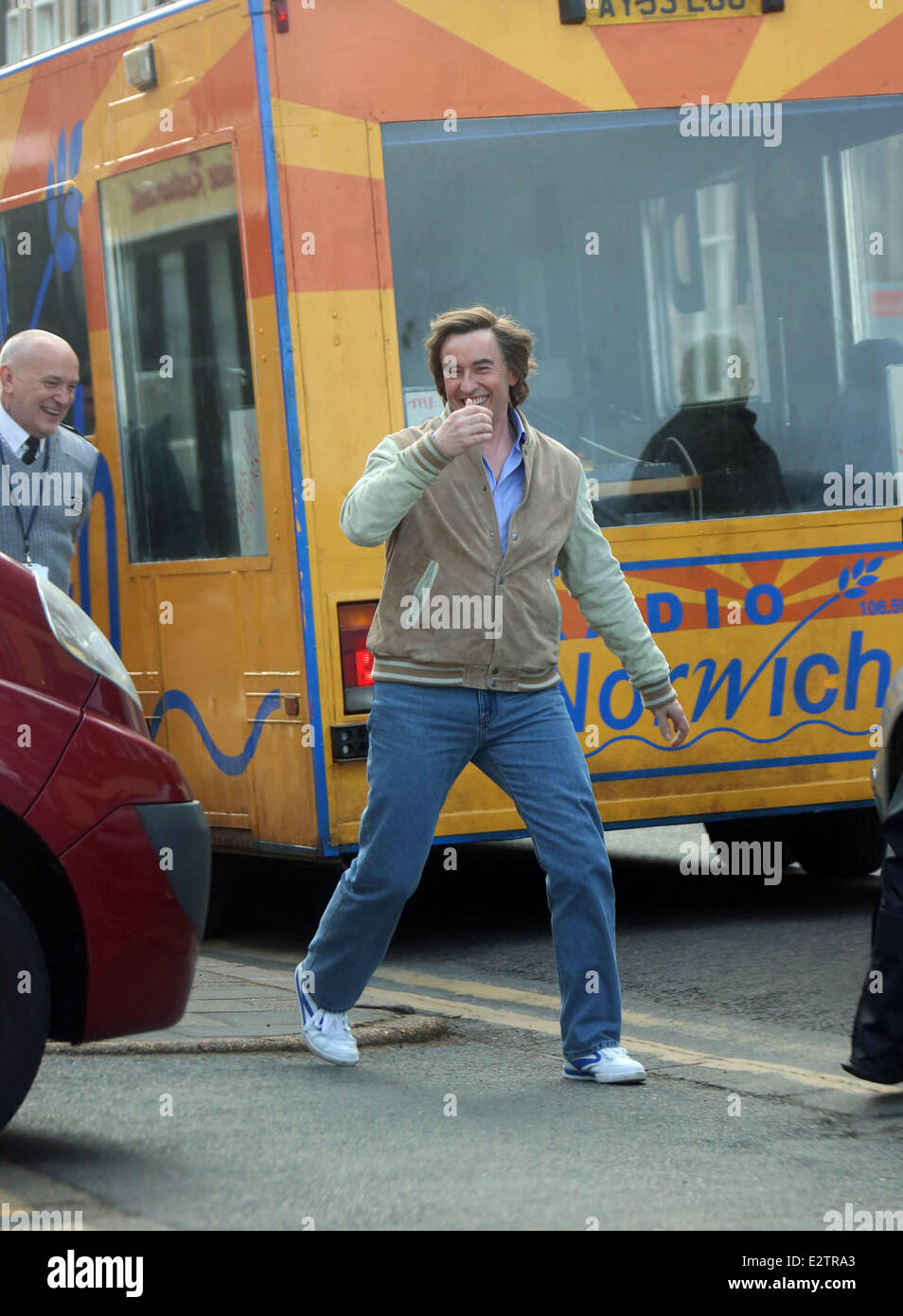 'Alan Partridge: The Movie' filming in Sheringham  Featuring: Steve Coogan Where: Norfolk, United Kingdom - Stock Image