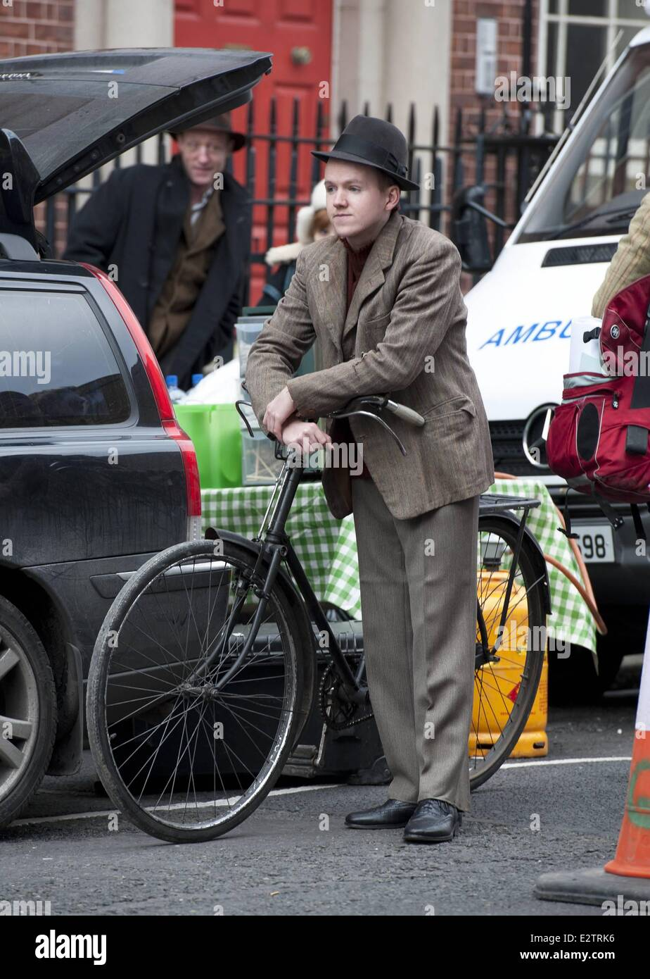 BBC 3 part miniseries 'Quirke' about a 1950s Dublin pathologist shooting on North Great Georges Street, - Stock Image