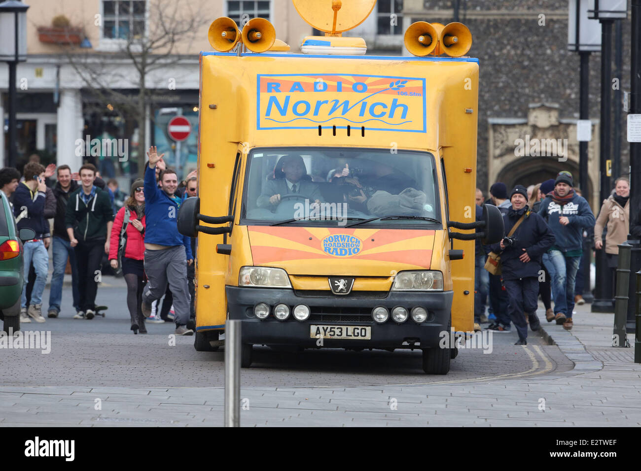 Alan Partridge: The Movie' filming in Norwich City Centre  Where: Norfolk, United Kingdom When: 28 Feb 2013 - Stock Image