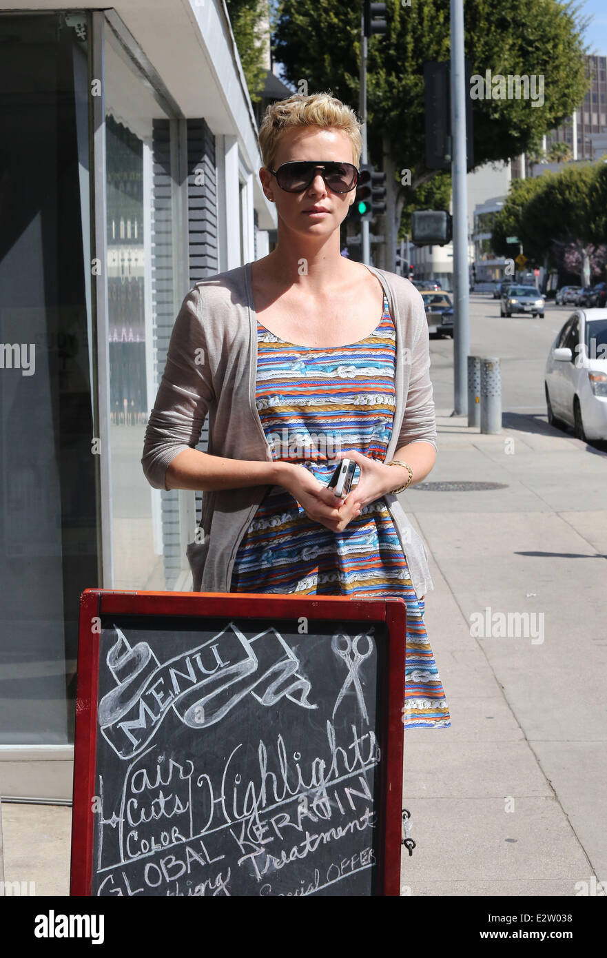 Charlize Theron Takes Her Son Jackson To The Childrens Hairdressers