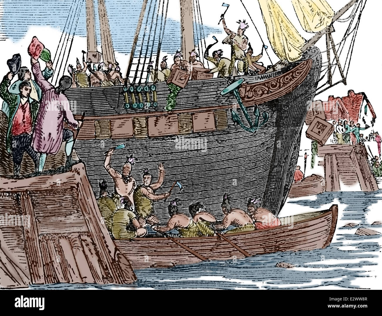 the boston tea party 16 december 1773 history of the united states stock photo 70639431 alamy. Black Bedroom Furniture Sets. Home Design Ideas