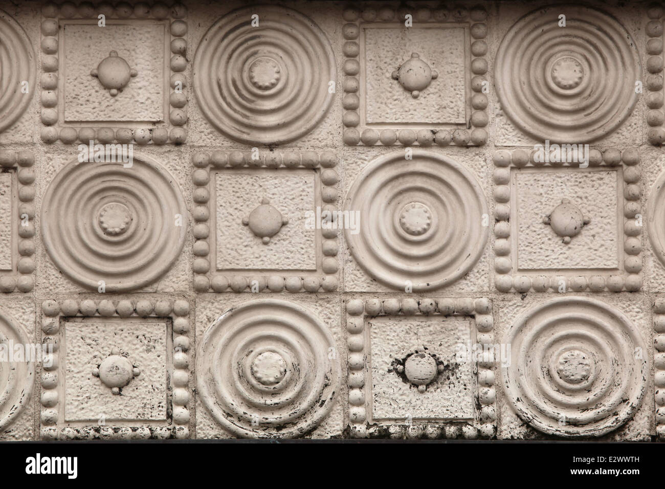 Secession pattern on a building in Hradec Kralove, Czech Republic. - Stock Image
