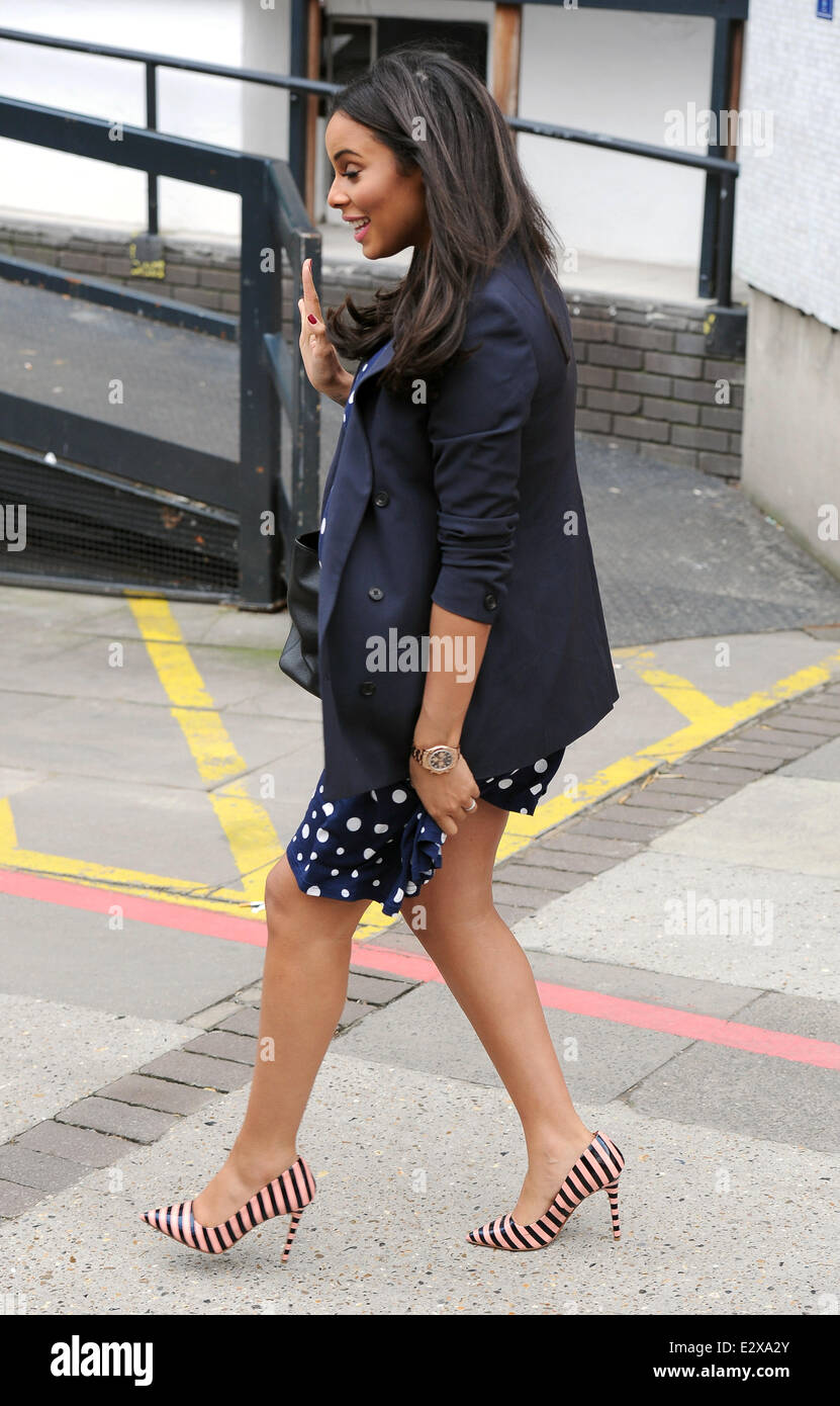 4dd2ebcd754fe Pregnant birthday girl Rochelle Humes of The Saturdays leaves the ITV  studios in a blue polka dot dress Featuring: Rochelle Hum