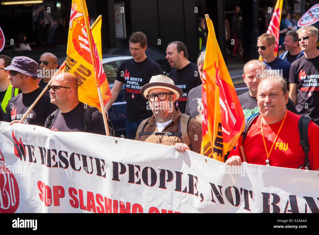 London, June 21st 2014. Members of the Fire Brigades Union participate in the march against austerity. Credit:  - Stock Image