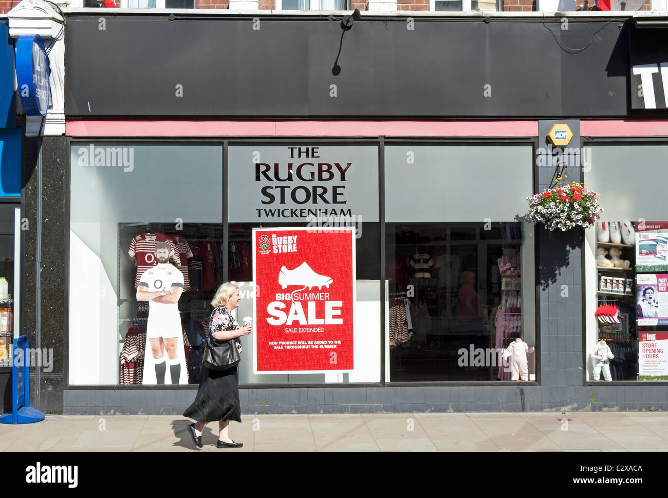 exterior of the rugby store, selling rugby related merchandise and with sale poster in window, in twickenham, middlesex, - Stock Image