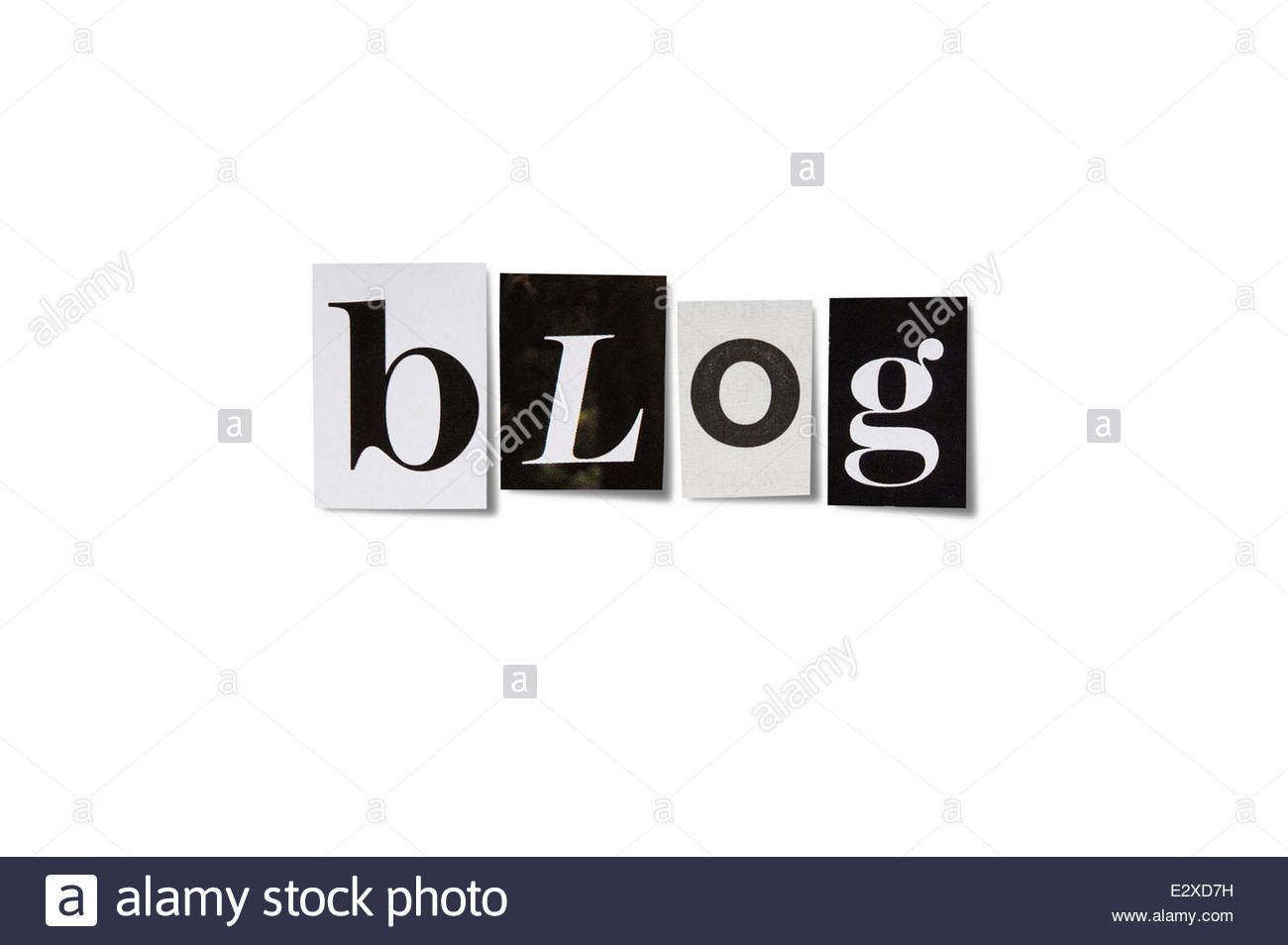 The word blog made from cutout letters isolated on white with path - Stock Image