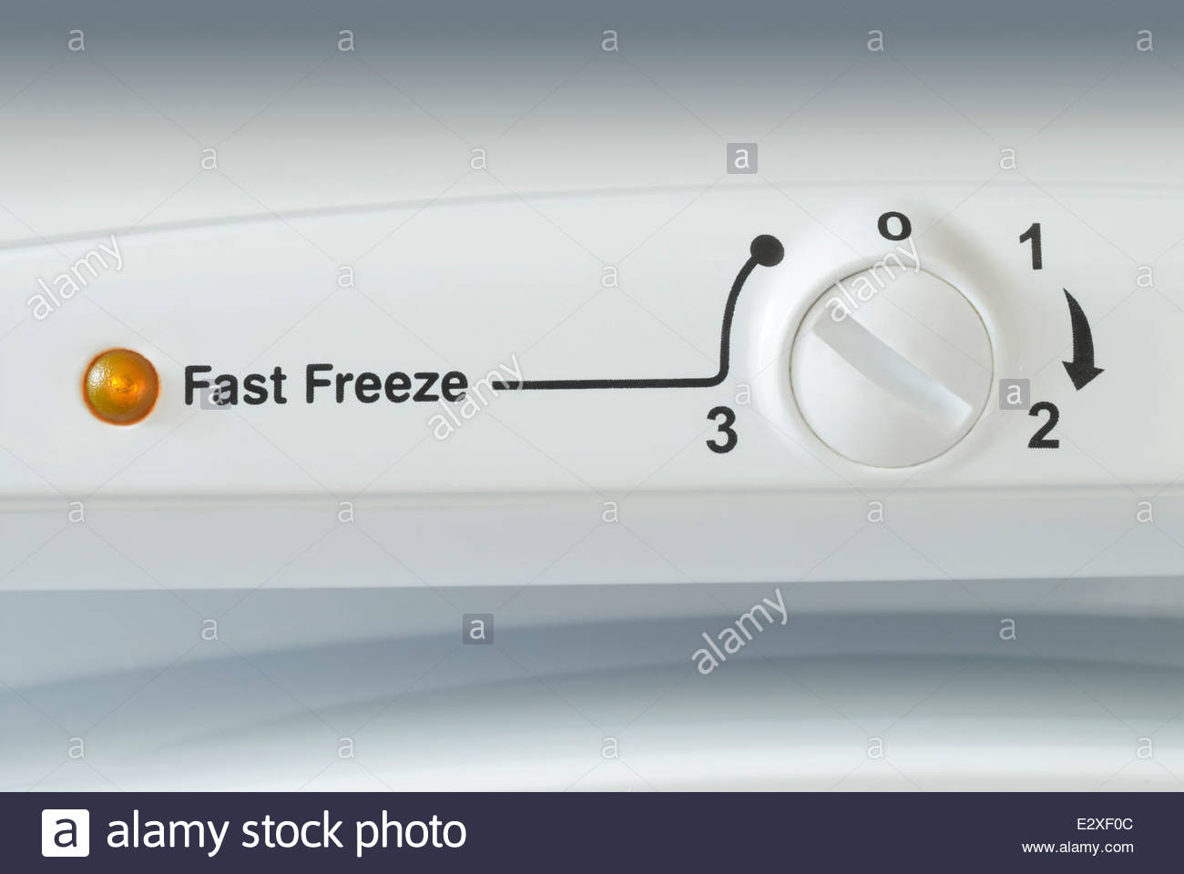 Close-up of a temperature control on the front of a domestic freezer - Stock Image