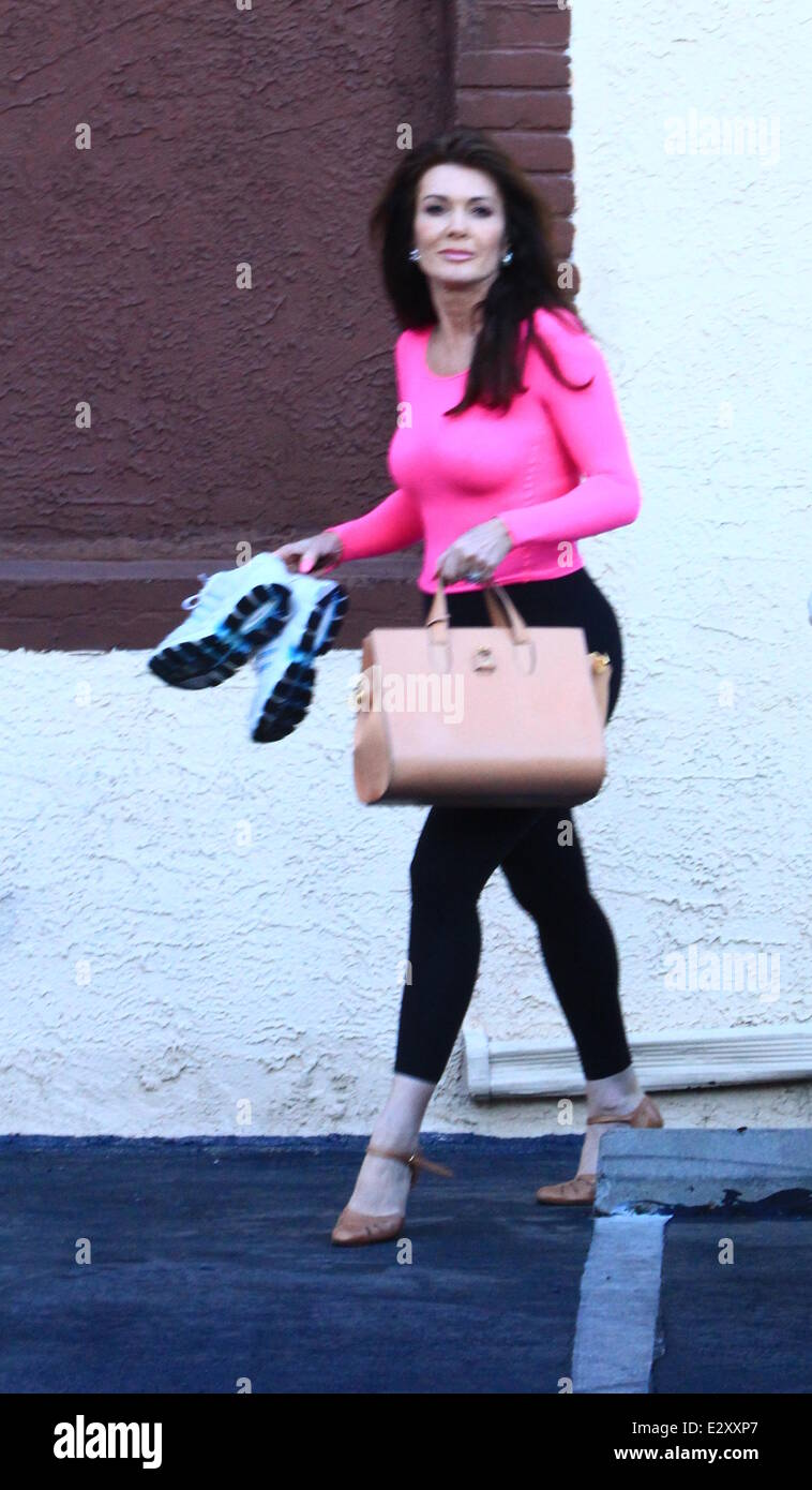 Lisa Vanderpump and dance partner Gleb Savchenko leaves the DWTS studio  Featuring: Lisa Vanderpump Where: Los Angeles, - Stock Image