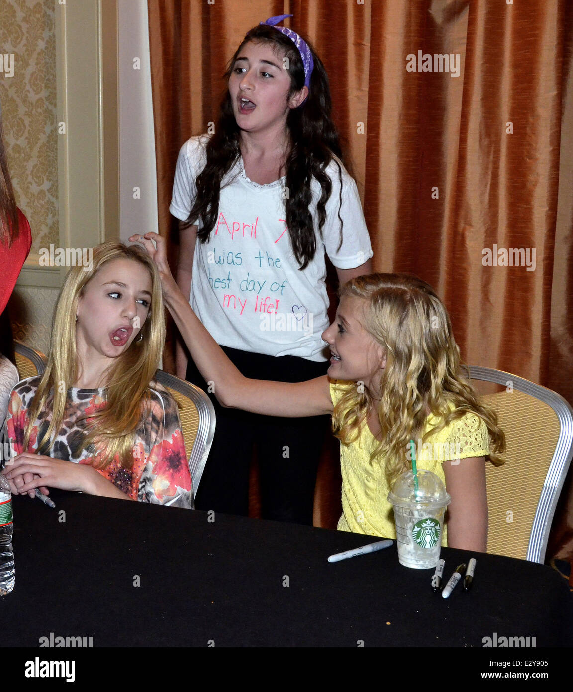 Chloe lukasiak paige hyland hyland stock photos chloe lukasiak cast members of the reality show dance moms attend a meet and greet at m4hsunfo