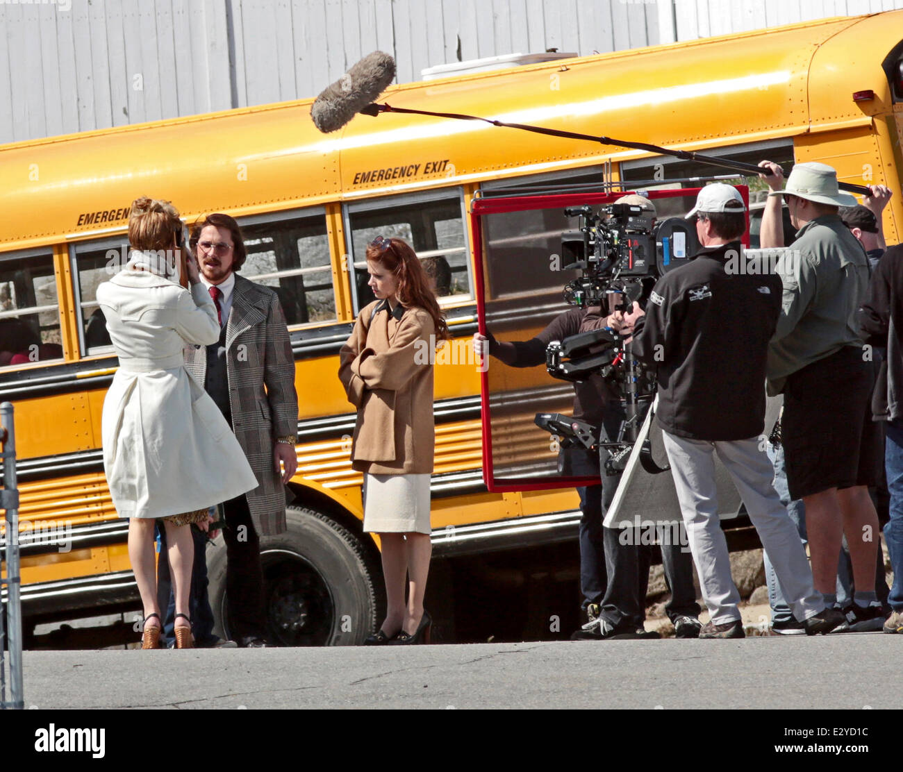 Actors on the set of 'Untitled David O. Russell Project'   The 1970s-set true story of a con artist and his partner Stock Photo